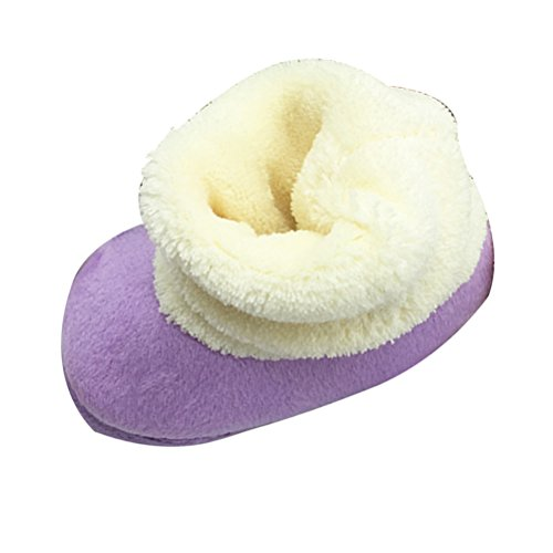 Zhhlinyuan Bebé Girl Keep Warm Soft Sole Snow Boots Soft Crib Shoes Toddler Boots Purple
