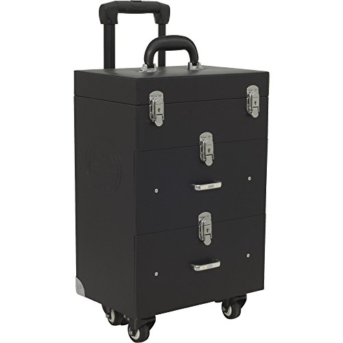 Sunrise Faux Leather Professional Nail Artistry 4 Wheel Rolling Makeup Case, Black by SunRise