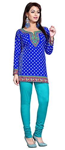 Maple Clothing Womens Printed Short Kurti Tunic Top Blouse Indian Clothes – S…Bust 34 inches, Blue