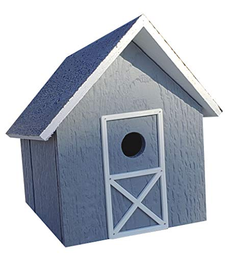 Amish-Made Wooden Easy-Clean Bird House (Slate -