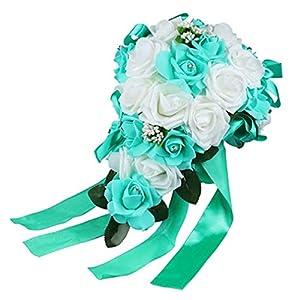 SoundsBeauty Wedding Bouquet Bridal Bridesmaid Artificial Foam Rose Flower Handmade Decor - White & Teal Blue 101