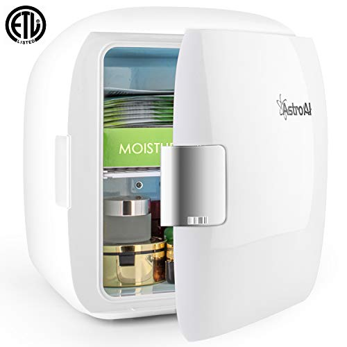 AstroAI Mini Fridge 9 Liter/12 Can AC/DC Portable Thermoelectric Cooler and Warmer for Skincare, Foods, Medications, Home and Travel, White