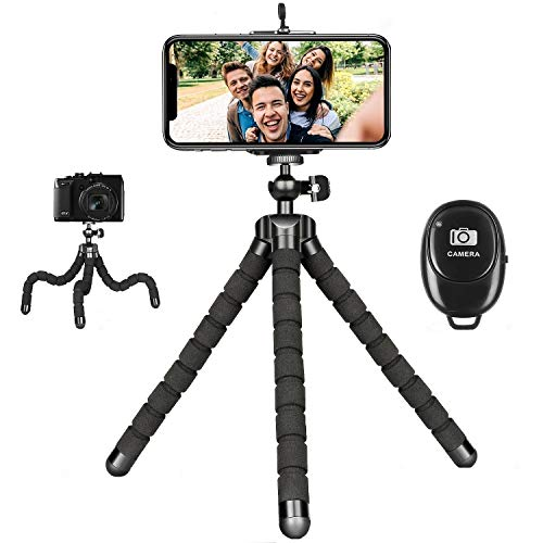 Phone Tripod for iPhone, Mini Flexible Tripod Adjustable Camera Stand Holder with Wireless Remote Compatible for iPhone…