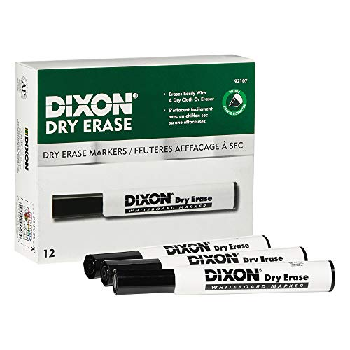 DIXON Dry Erase Markers, Wedge Tip, Black, 12-Pack (92107)