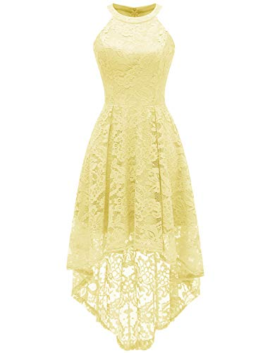 Dressystar 0028 Halter Floral Lace Cocktail Party Dress Hi-Lo Bridesmaid Dress S Yellow