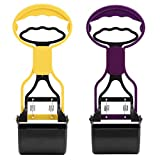 2 Pcs Dual Color Poop Scooper, Pet Dog Poop Scooper Animals Puppies Waste Remover Picking Up Clip with Long Handle(Yellow & Purple)