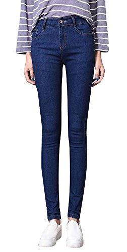 Girls Slim Straight Jean - Plaid&Plain Girls Skinny Slim Fit Straight Leg Stretch Denim Jeans with Pocket 90001Blue 14
