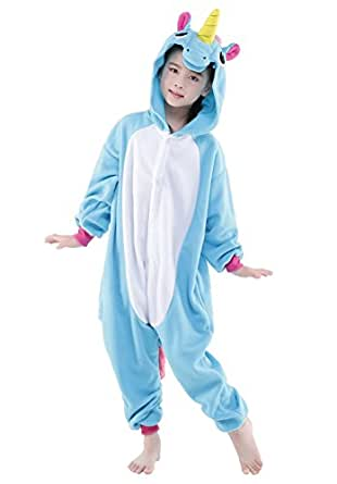 NEWCOSPLAY Unisex children Unicorn Pyjamas Halloween Kids Onesie Costume (85, Blue Flying Horse)