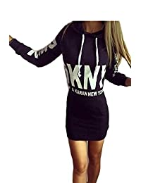 Women's Casual Letter Print Hoodie Bodycon Dress