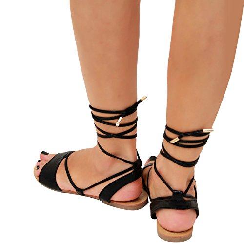 Mujer Corbata Dar Cuerda Gladiador Sandalias Planas Verano Tiras Metálico Zapatos Talla Negro Brillo