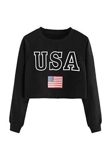 - Verdusa Women's USA Flag Print Crop Raglan Pullover Sweatshirt Black XL