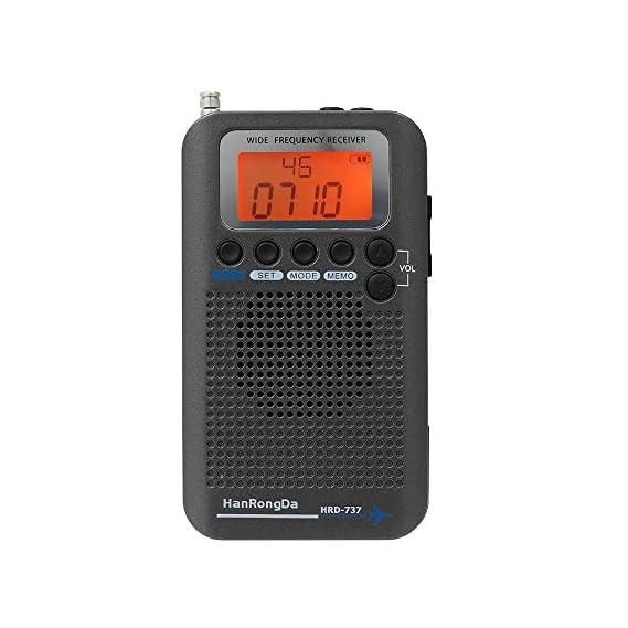 Festnight HanRongDa HRD-737 Portable Full Band Radio Aircraft Band Receiver FM/AM/SW/CB/Air/VHF World Band with LCD Display Alarm Clock