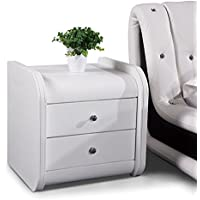 US Pride Furniture B8046-NS Faux Leather Contemporary Nightstand, White