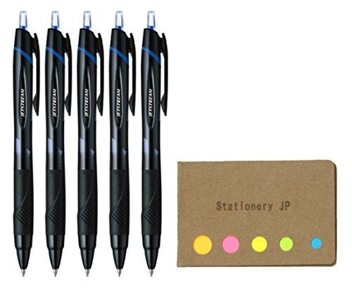 Uni-ball Jetstream Retractable Ballpoint Pen, Medium Point 0.7mm, Blue Ink, 5-Pack, Sticky Notes Value Set