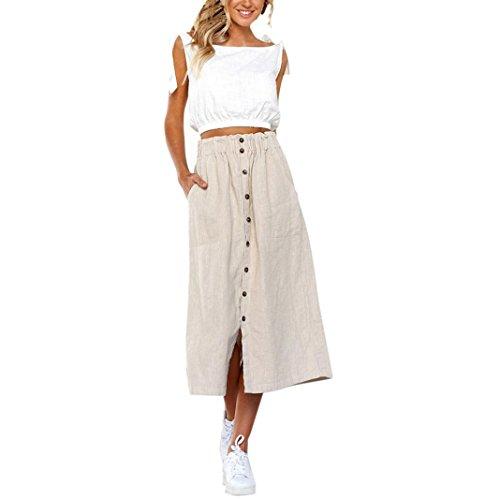 (Women Long Skirts,Hemlock Lady Office Skirts Button Stretchy Waist Skirt Retro Midi Beach Wrap Dress (XL, Khaki))
