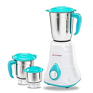 Longway Super DLX 3 jar 700 Watt Mixer Grinder 1 Year Warranty (Blue & White)