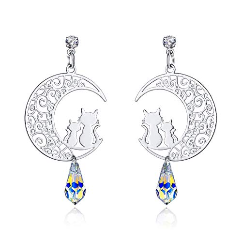 (I'S ISAACSONG Sterling Silver Hypoallergenic Moon Cat Earrings, Aurora Borealis Crystal Dangle Drop Cat Earrings for Women and Girls (Cat on Moon Earrings))