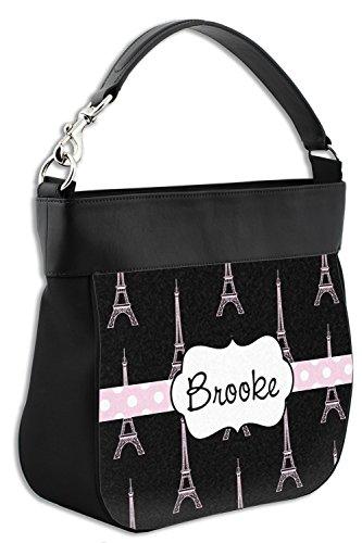 Personalized Black Front Leather Genuine Purse Eiffel Tower w Trim Hobo wzwfR