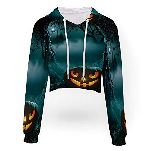 iPrint Sexy Women Sweatshirt,Halloween,Women Teen Girls Striped Crop Sweatshirt -