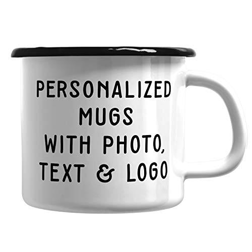 Customizable Mug - Enamel Coffee Mug for Campers & Adventurers Personalized- ADD Photo, Logo, or Text to Custom Mugs, Ceramic, Tazas Personalizadas, Monogram Novelty Mug