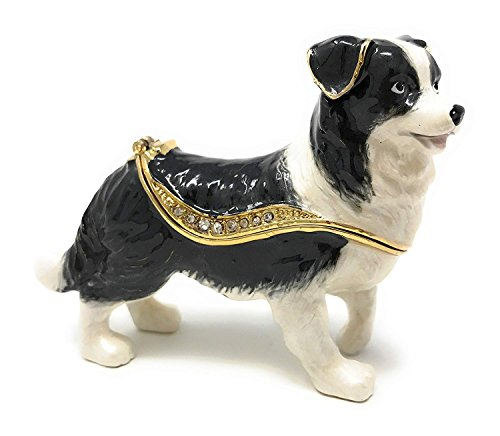 Kubla Craft Enameled Border Collie Trinket Box, Accented with Austrian Crystals (Collie Box Gift)