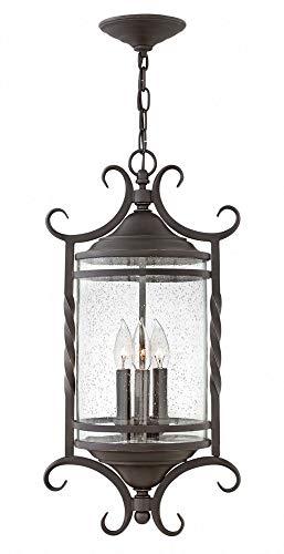 (Hinkley 1147OL-CL Casa Outdoor Pendant, 3-Light 180 Total Watts, Olde Black)