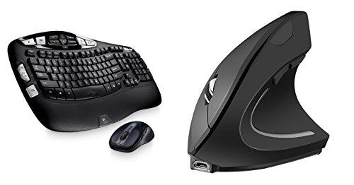 Logitech MK550 Wireless Wave Keyboard and Mouse Combo — Long Battery Life, Ergonomic Wave Design | Ergy - The Ergonomical Mouse - Wireless Optical Rechargable Battery Vertical Mouse - 2.4 Ghz (Batteries Rechargable 123)