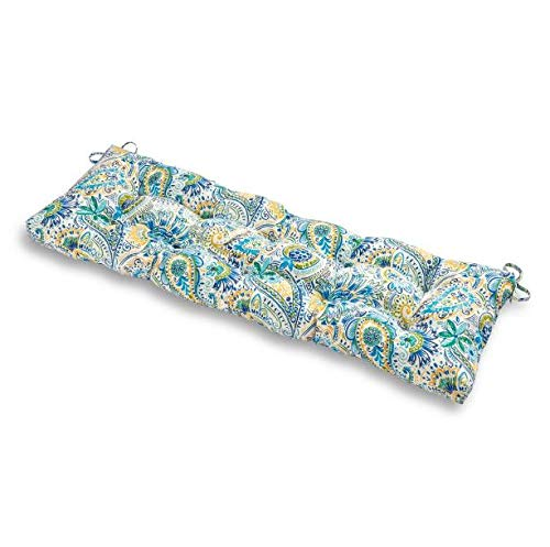 Greendale Home Fashions 51-Inch Indoor/Outdoor Bench Cushion, Baltic Paisley + Free Home Decor (Paisley Settee)