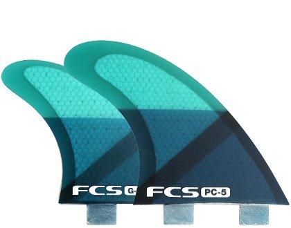 FCS PC-5 II Two Tab Medium Tri-Quad Fin Set Performance Core - Blue Slice