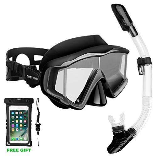 Snorkel Set, Snorkel Mask with Dry Snorkel for Adult Youth Anti-Fog Coated Snorkeling Goggles Comfortable Soft Mouthpiece Snorkel Tube and Only Snorkel Set with Waterproof Pouch ()