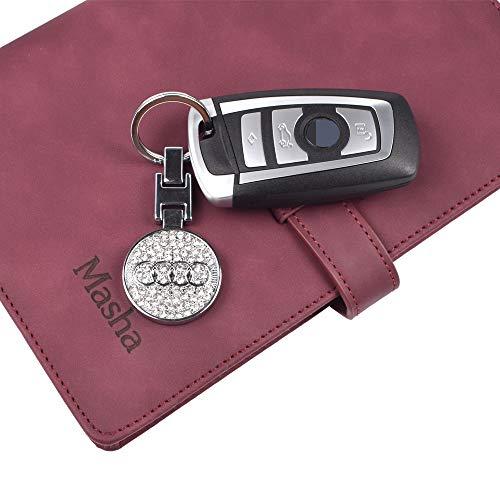 MASHA Car Logo Key Chain Key Ring Metal Exquisite Mark for Audi Accessories Keyfob Glitter Rhinestones Keychains with ()