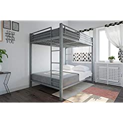 Bedroom DHP Full over Full Bunk Bed for Kids, Metal Frame with Ladder (Silver) bunk beds