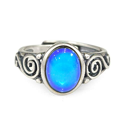 Fun Jewels Sterling Silver Multi Color Change Oval Stone Mood Ring with Intricate Design Size Adjustable ()