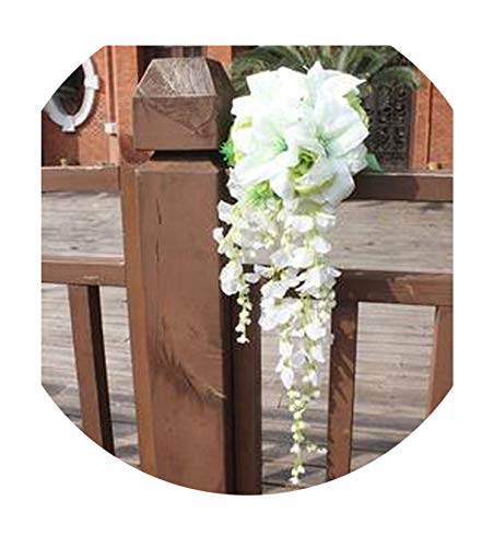 Teardrop Bridal Bouquet - mamamoo White Lily Waterfall Wedding Bouquet Teardrop Romantic Long Bridal Bouquet Bride Roses Artificial Flowers,Picture Color
