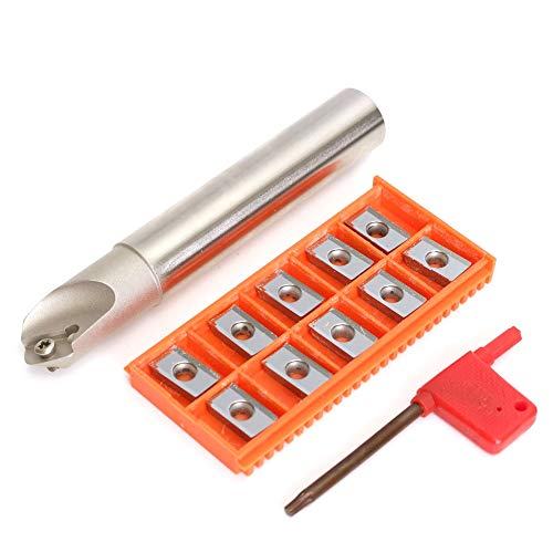 45 Chamfering Kit - Roeam SSK C20-20-130 45 Degree Centering Chamfering Cutter Holder + 10Pcs APKT1604 Inserts + T15 Wrench
