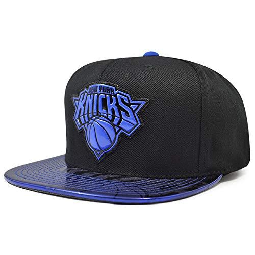 (Mitchell & Ness New York Knicks TEAM STANDARD Snapback NBA Adjustable Hat - Black, Blue)