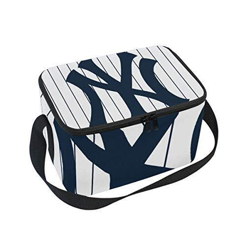 (Adult Lunch Box Yankees MLB Insulated Lunch Bag Large Cooler Tote Bag For Men and Women)