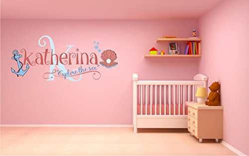 Custom Name & Initial Anchor And Oyster - Handmade Series - Baby Girl - Wall Decal Nursery For Home Bedroom Children (R31)