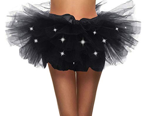 Simplicity Women LED Light Up Tutu Skirt for Party Stage Costume -
