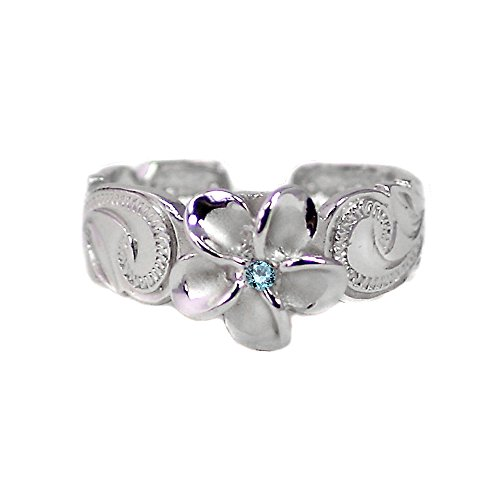 - Hawaiian Sterling Silver Plumeria Toe Ring with Blue Synthetic Cz Crystal