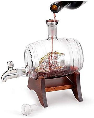 ZKDY Hogar con la máquina de Despertador de Tap, Botella de Vidrio en Forma de Barril de Vino, 1000 ml de Botella de Whisky Vino en Forma de Vidrio Decantador de Whisky