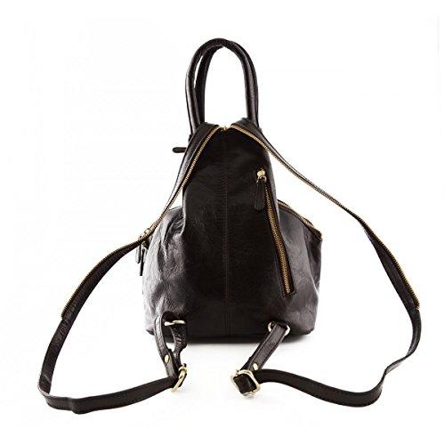 Echtes Leder Damenrucksack 2 Taschen Farbe Dunkelbraun - Italienische Lederwaren - Rucksack