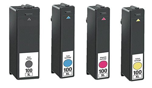 4/Pack 100xl BCMY ink cartridges for Lexmark combo Compatible with: Prospect Pro 205 Pinnacle Pro 901 Platinum Pro 905 Impact S305 Institution S505