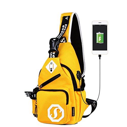 (RedDhong 2017 New Fashion Sling Shoulder Crossbody Chest Bag for Men Women Bicycling Hiking Travel Backpack School Bookbag with USB)