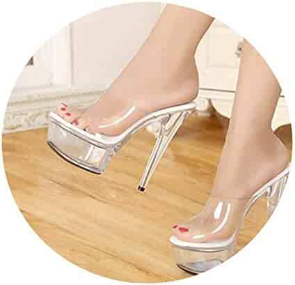 8db20c19af0 Slides Model T Stage Catwalk Sexy Crystal Shoes 15cm High with Transparent  Slippers