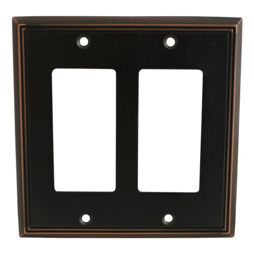 Cosmas 65088-ORB Oil Rubbed Bronze Double GFI / Decora Rocker Wall Switch Plate Switchplate Cover (Bronze Double Rocker)