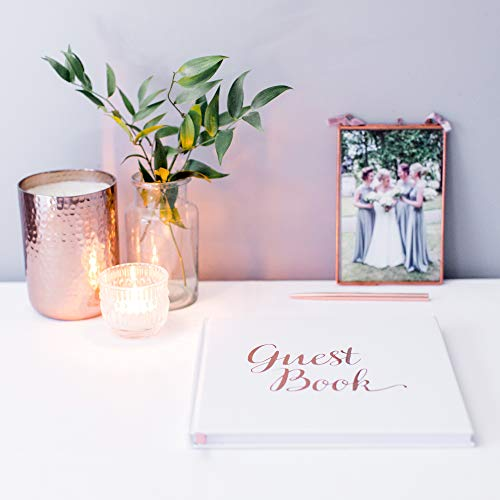 [New] Blank Wedding Guest Book Guestbook Rose Gold & White Paper with NO Lines - Registry Books - Rosegold Foil Stamping and 180GSM Paper 32 Pages 64 Sides Square Photo #8