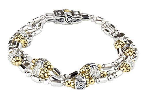 (John Medeiros Triple Strand Two Tone Beaded Collection Bracelet Pavé Setting Made in America)