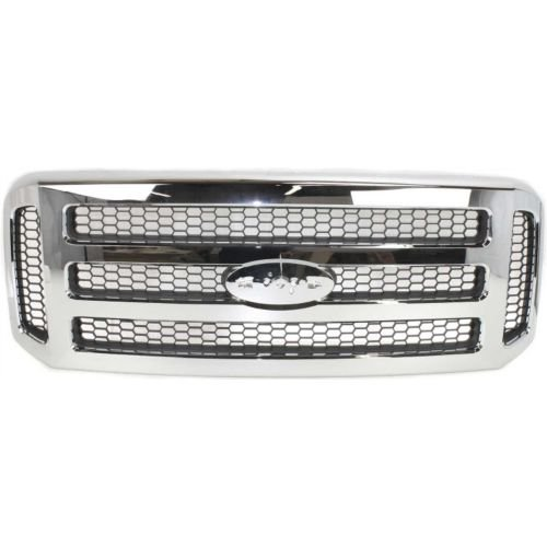 MAPM - Chrome Grille Assembly With Gray Honey Comb Insert For Ford SuperDuty Pickup F-Series F250 F350 F450 F550 2005-2007 (XLT/Lariat OR Amarillo Models) - ()