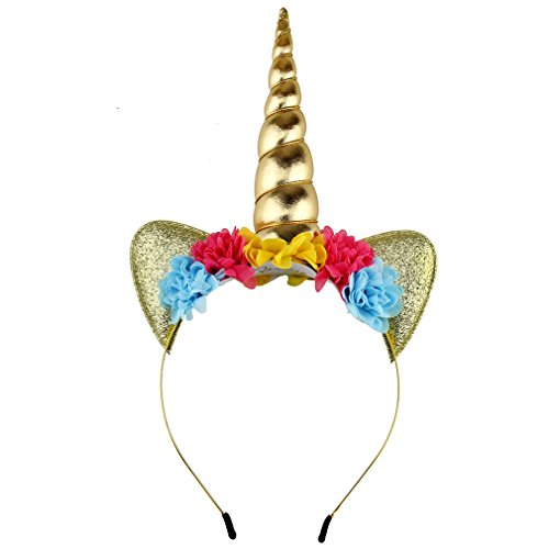 YanJie Shiny Unicorn Horn Ears Flower Headband Cosplay Costume (gold)]()